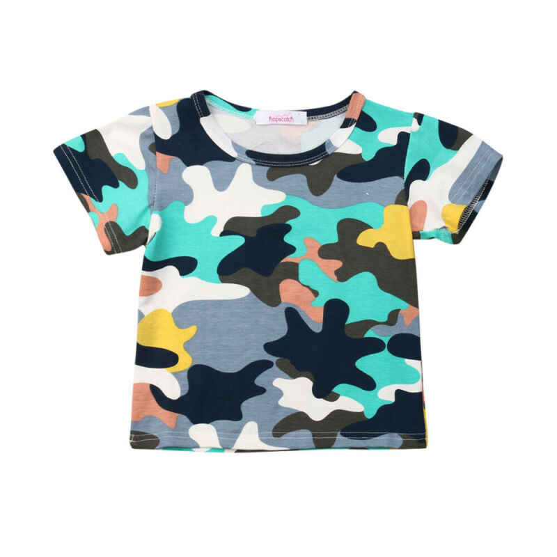 1-6T פעוט תינוק ילד הסוואה קצר שרוול חולצות חולצה ילדי בני Tshirts קיץ בד מזדמן חליפת קיץ