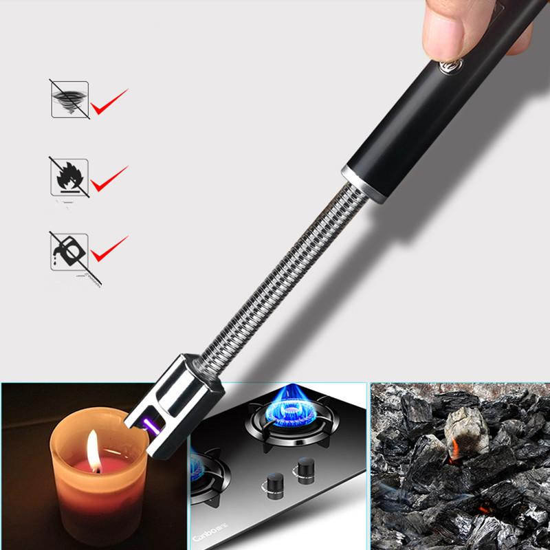 360 Degree Rotation Pulse Arc Lighter Kitchen and BBQ Electronic Lighters Rechargeable USB Portable Windproof Lighter