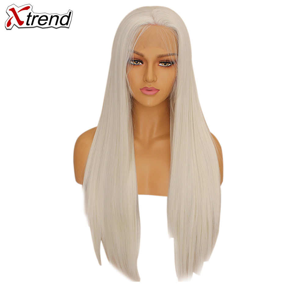 Xtrend Straight Synthetic Lace Front Wig White Pink Purple Green Blonde 613 Grey 60 Copper Wigs For Black Women Heat Resistant