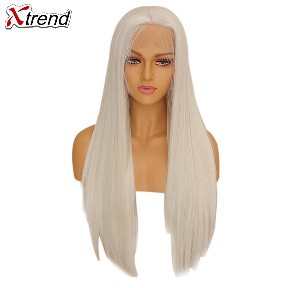 Xtrend Straight Synthetic Lace Front Wig White Pink Purple Green Blonde 613 Grey 60 Copper Wigs For Black Women Heat Resistant-in Synthetic Lace Wigs from Hair Extensions & Wigs