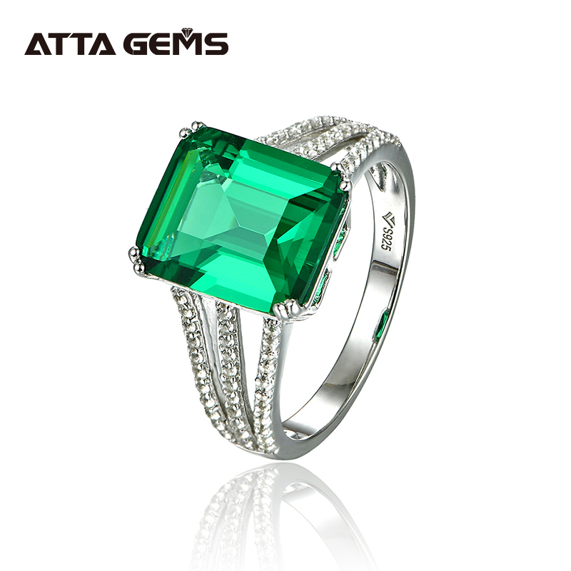 2016 New octangon  EMERALD woman 925 sterling silver ring ,Russian Sets Pure Solid Sterling Silver