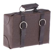 Новинка 1 шт. миниатюрный кукольный домик винтажный кожаный деревянный чемодан мини кукольный багажный ящик ролевые игры мебель игрушки аксессуары