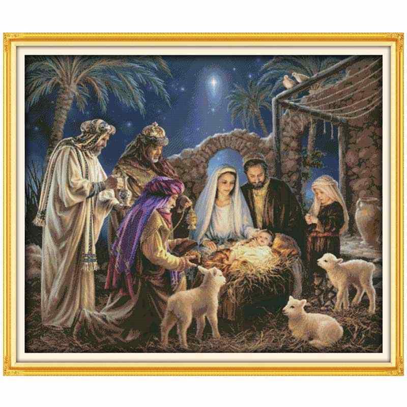 วันเกิดของเด็กพระเยซูนับพิมพ์บนผ้าใบ 11CT 14CT DIYชุดปักครอสติสปักเย็บปักถักร้อยชุดบ้านdecor