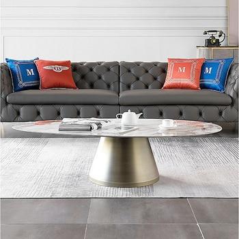 Italian Minimalist Light Luxury Marble Microcrystalline Stone Oval  Coffee Table  2