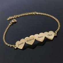 Pulsera personalizada con nombre para miembros de la familia, joyería de aniversario de acero inoxidable, bonito brazalete con grabado de corazón, placa con nombre