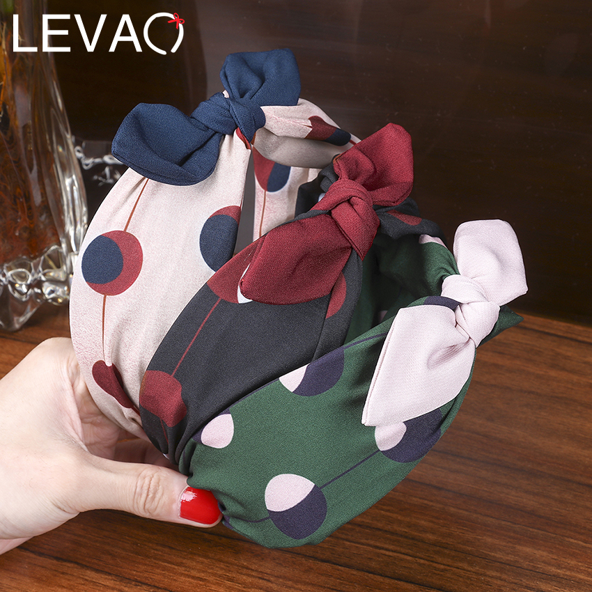 Levao Women Hair Hoop Polka Dot Multicolor Fabric Cross-knotted Hair Bow Sweet Style Hair Accessories