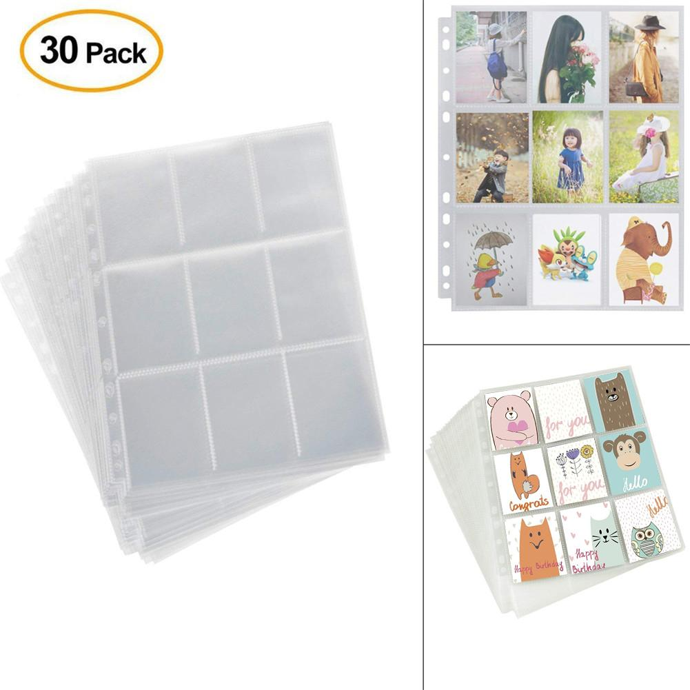 30 Sheets 270 Pocket Game Card Storage Page 9 Pockets Each Sheet Game Board Trading Card Album Pages For Card Collection