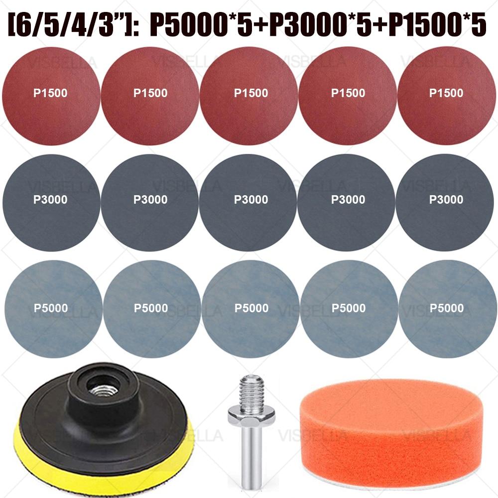 6/5/4/3Inch Sandpaper Sanding Disc Pad for Car Headlight Repair Wood Wheel Polishing Restoration Sandpaper Kit 15PCS Sanding kit