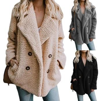 Fashion Women Coat Jacket Button Lapel Winter Warm Solid Color Coat Fluffy Cotton Padded Jacket Outwear For Women