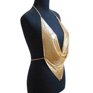 Image 5 - شبكة معدنية الجسم سلسلة ماكسي مجوهرات لامعة الترتر البرازيلي مجوهرات للجسم النساء الجسم سلسلة بيان كبير مجوهرات