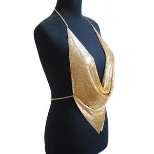 Image 5 - מתכת Mesh גוף שרשרת מקסי תכשיטי מבריק פאייטים חזיית גוף תכשיטי נשים גוף שרשרת תכשיטי הצהרת גדול