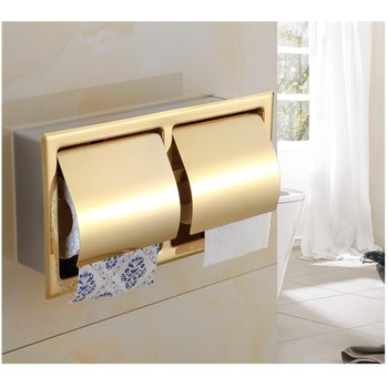 Single Chrome 304 Stainless Steel Concealed Install Toilet Paper Holder, Inside Wall Mounted Bathroom Roll Tissue Paper Rack фото