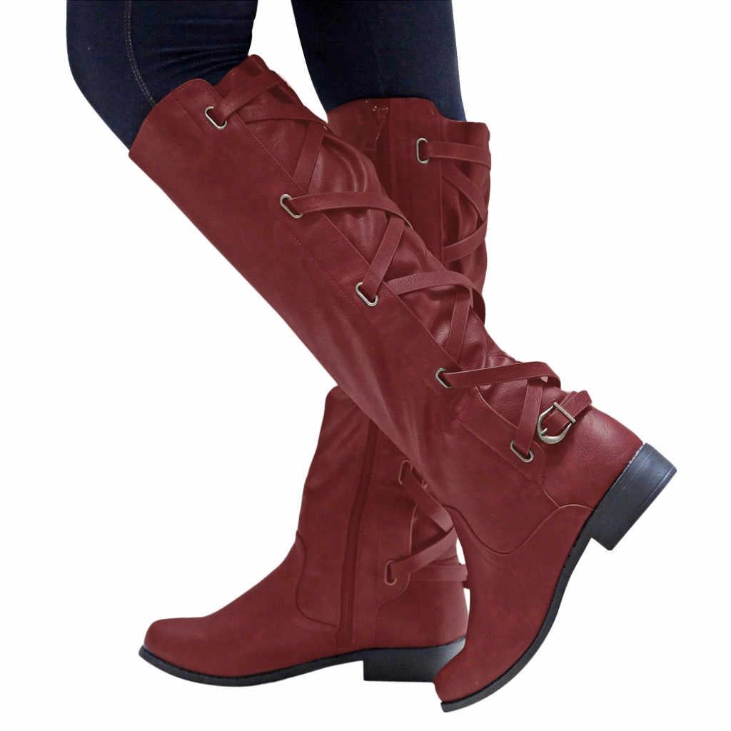 Buty kobiety w stylu Vintage zima ciepłe kwadratowe obcasy buty do kolan kobiet platformy z okrągłym czubkiem buty botki Plus rozmiar Botas Mujer 2019