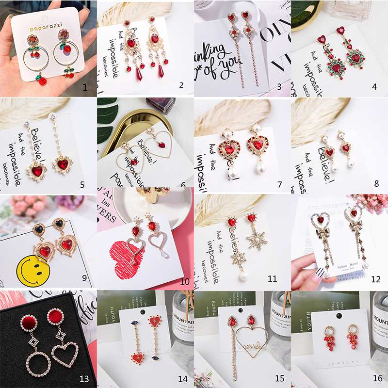 H2c8a5245f73243f5acf566faaaa4c8240 - 2019 New Hot Sale 20 Style Red Fashion Korean Elegant Geometric Dangle Earrings for Women Cute Pendant Mujer Jewelry