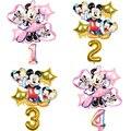 6 шт Микки и Минни Маус Мышь надувные шары Mickey Мышь День рождения Decoations Baby Shower 32 дюймов шара с цифрой детские игрушки Air Globos