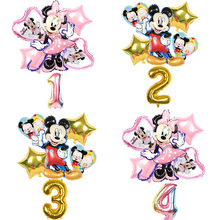 Number Balloon Decoations Mickey-Mouse Baby Shower Birthday-Party Air-Globos 32inch 6pcs