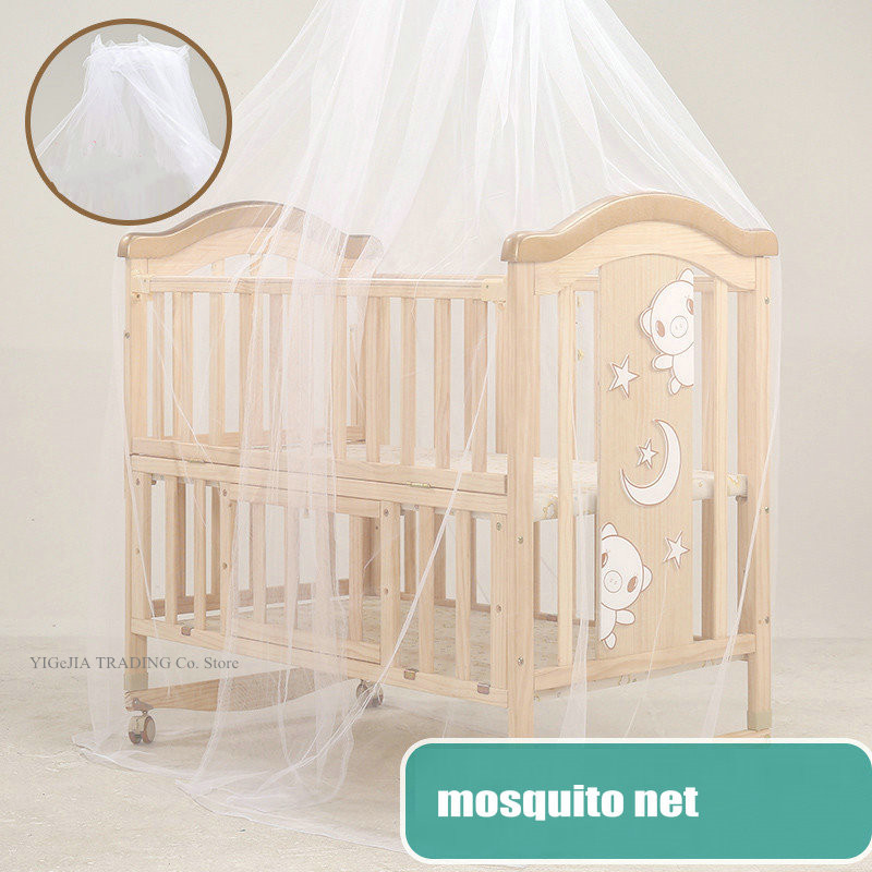 All-in-one Infant Crib, 106*62*102cm, Can Extend To 150cm, Wood Baby Bed Can Joint With Adult Bed, Can Change To Rocking Cradle