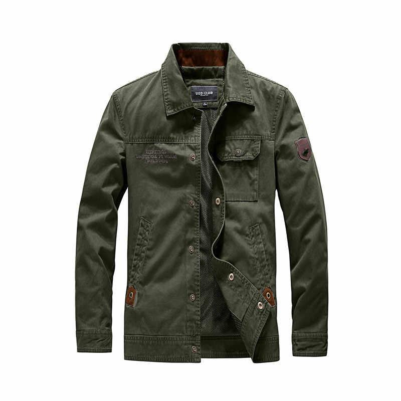 2019 Marka Askeri Ceket Erkek Sonbahar erkek ceket ve mont ABD Ordusu Üniforma pilot bombacı ceket erkekler artı boyutu 4XL erkek mont