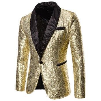 2020 Shiny Gold Sequin Glitter Blazer Men Jacket DJ Host Single Button Suit Mens Blazer Jacket Prom Stage Wedding Costumes