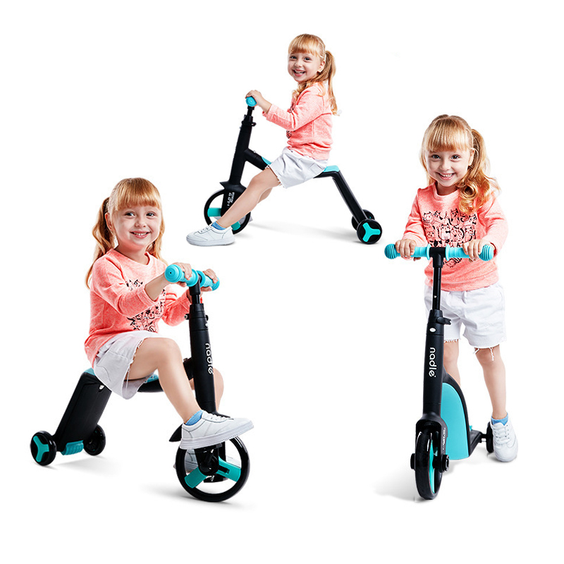 Nadle Children Scooter Tricycle Baby 3 In 1 Balance Bike Ride On Toys Kids Bike