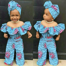 # 5 Off Shoulder Baby Girls Romper Summer Dashiki African Style Print Romper For Toddler Baby Girls Clothes Jumpsuit+hairband