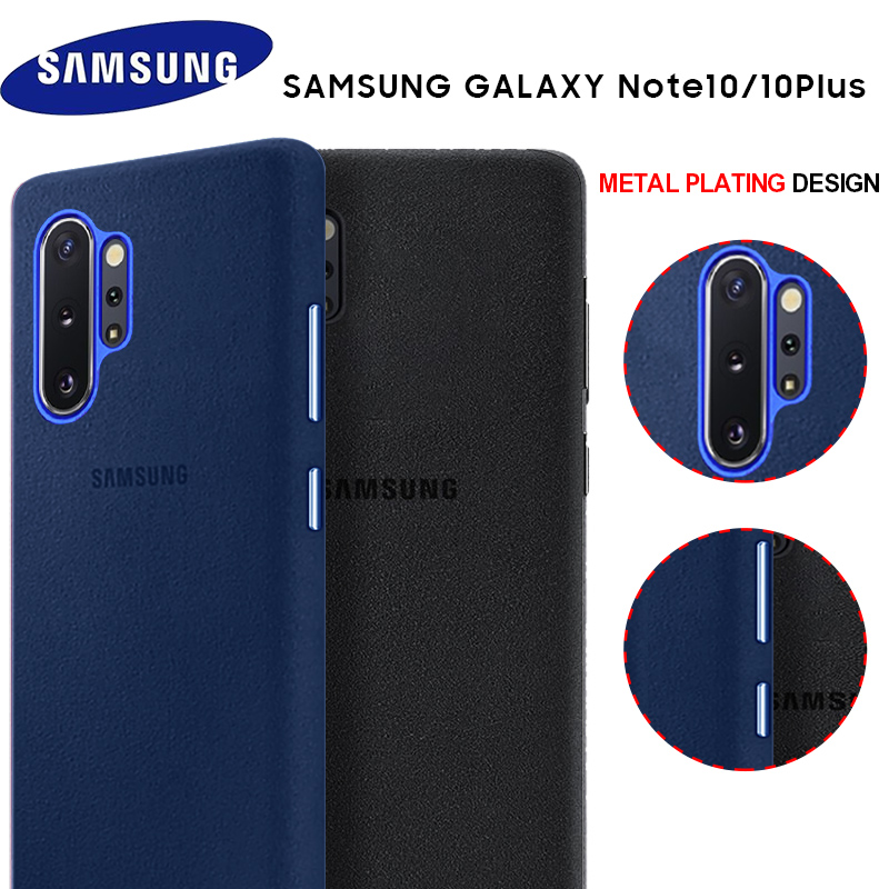 Samsung Note 10 Plus Case Luxury Original Genuine Suede Leather Metal button Fitted Protector Case Samsung Galaxy Note 9 10 NOTE 10+ Case Phone Back Cover Fundas Coque
