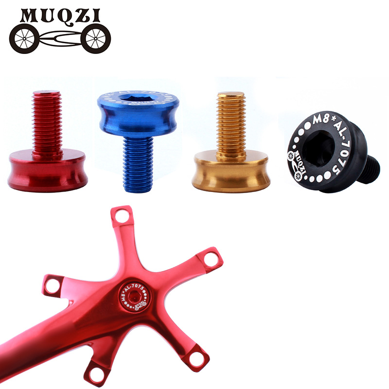 MUQZI 2pcs Bicycle M8 Crankset Screw Bolts Aluminum Alloy Square Hole Bottom Bracket Waterproof Sealed Bolts