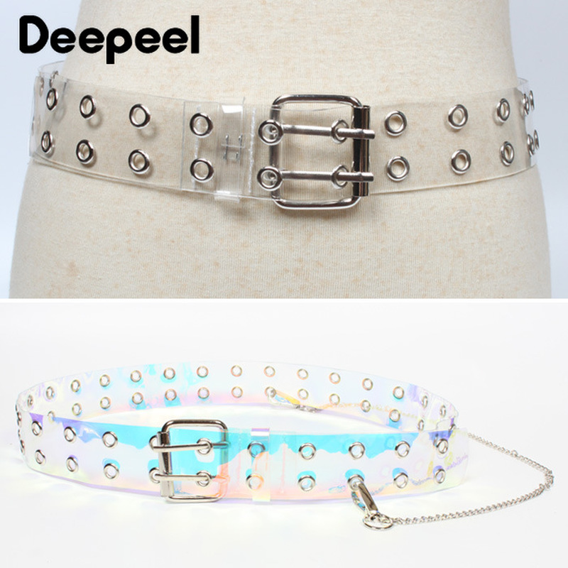 Deepeel  3.8*103cm Fashion Double-pin Ladies Belt Transparent  Cummerbund Decorative Chain Jeans Dress Casual Accessories YK624