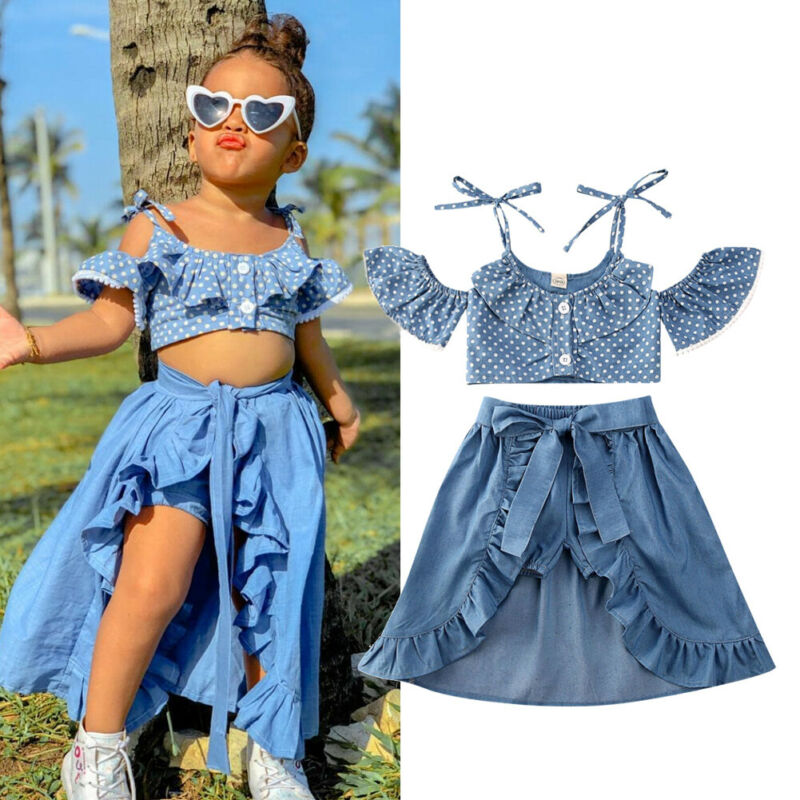 CANIS Summer 3Pcs Toddler Baby Kid Girl Summer Spaghetti Strap Polka Dots Tops+Ruffle Dress+Shorts Clothes