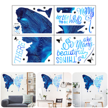 Wall-Stickers Living-Room Butterfly Adhesive PVC for Bedroom Home-Decor Blue Waterproof