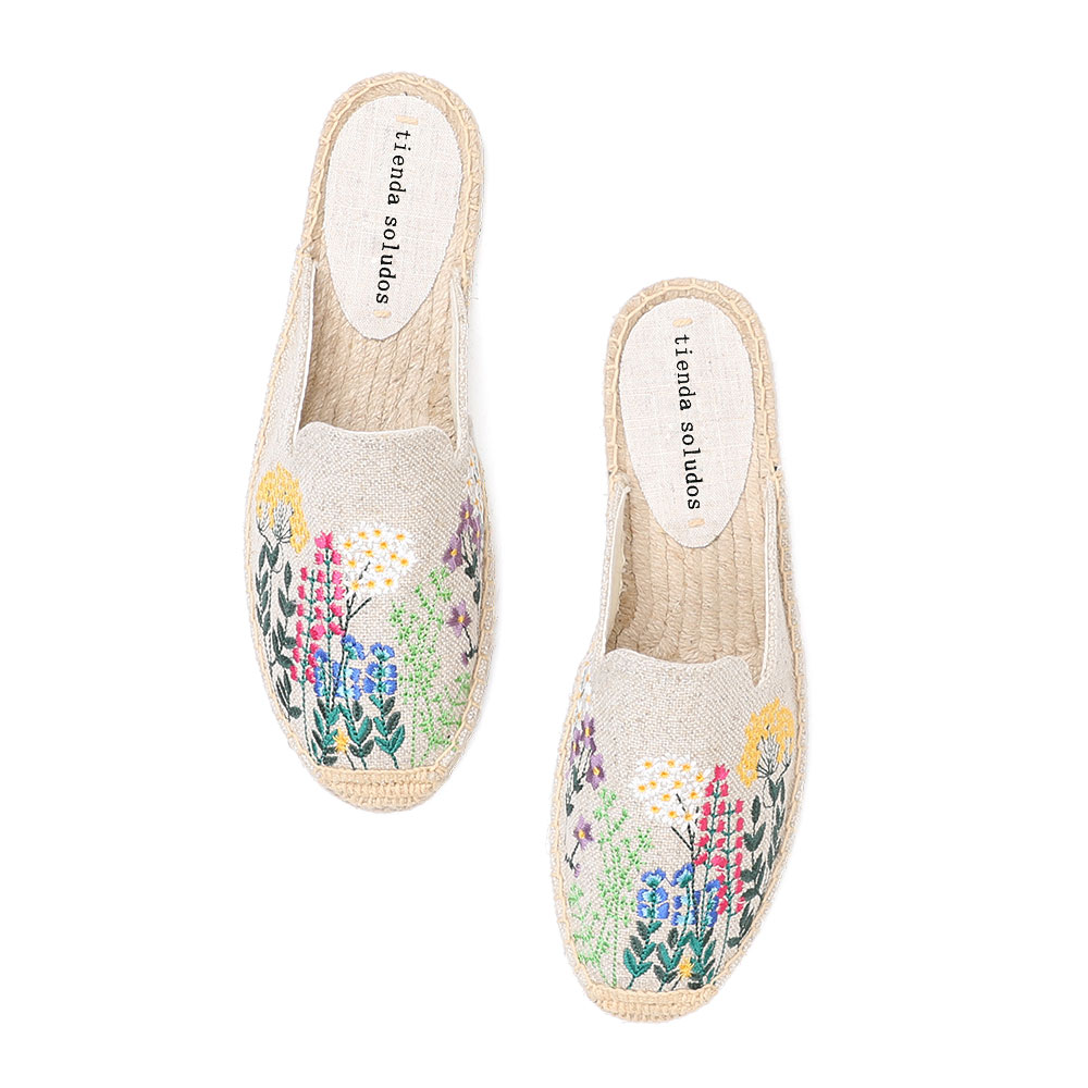 Tienda Soludos Espadrilles Slippers For For Flat 2019 Time-limited Real Hemp Summer Rubber Floral Terlik Slides Woman Shoes