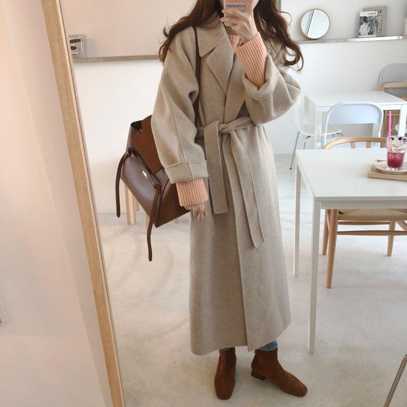 19 Winter Oversize Long Trench Coat Women Cashmere Coat Korean Lady Windbreaker Outwear Streetwear 94
