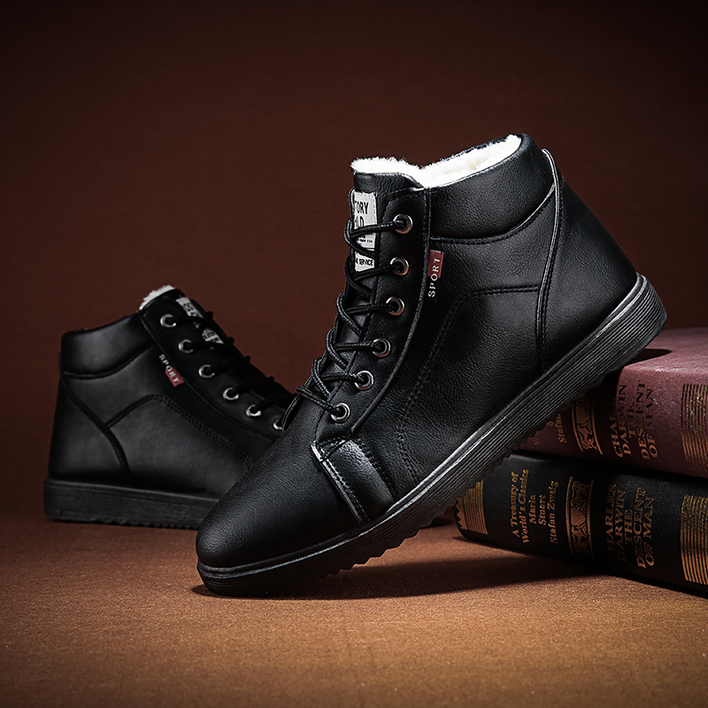 Platform Shoes Military-Boots Waterproof Mens Leather Non-Slip Warm