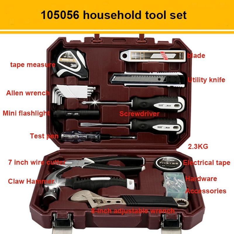 Набор ручных инструментов бытовыми ремонтный набор инструментов с Пластик ящик для инструментов чехол отвертка с гаечным ключом Инструменты для ремонта автомобилей комплект - Цвет: 105056