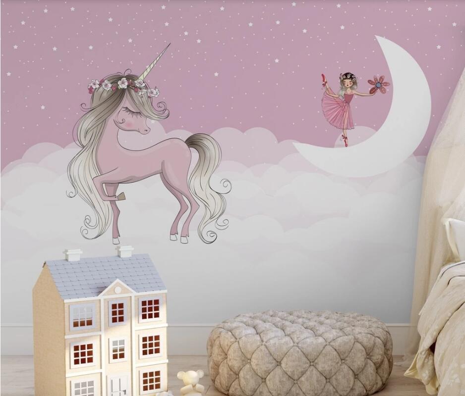 AINYOOUSEM Pink Unicorn Star White Cloud Children Background Wall Papier Peint Papel De Parede Wallpaper 3d Wallpaper Stickers
