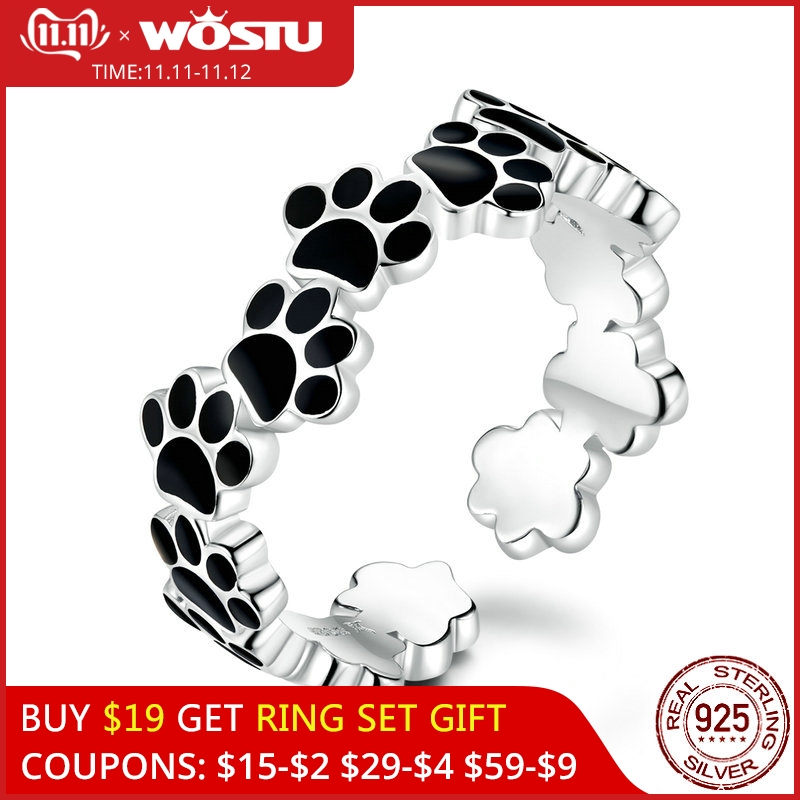 WOSTU Authentic 925 Sterling Silver Footprint Paw Dog Ring For Women Adjustable Open Balck Rings Party Fashion Jewelry CQR603