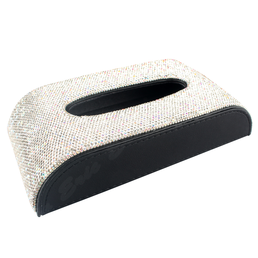 Bling Sparkly Crystals Leather Car Tissue Box Fashion Towel Paper Cover Case for Car luxury car accessories