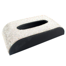Bling Sparkly Crystals Leather Car Tissue Box Fashion Towel Paper Cover Case for