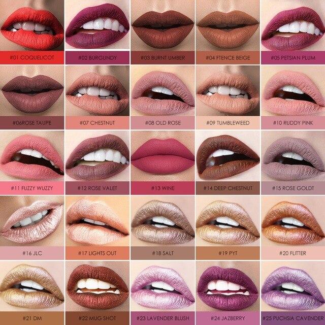 FOCALLURE-labial sexy, mate y brillante, lapiz labial líquido de larga duración resistencia al agua, la duración es de 24 horas, cosmética para la belleza 5