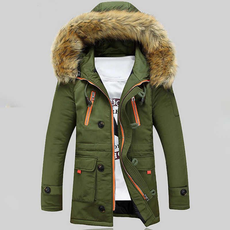 Ropa de hombre chaqueta Parka de invierno con capucha de piel Casual ajustado ajuste grueso cálido para hombre Abrigos Parkas con capucha abrigos largos prendas de vestir masculinas
