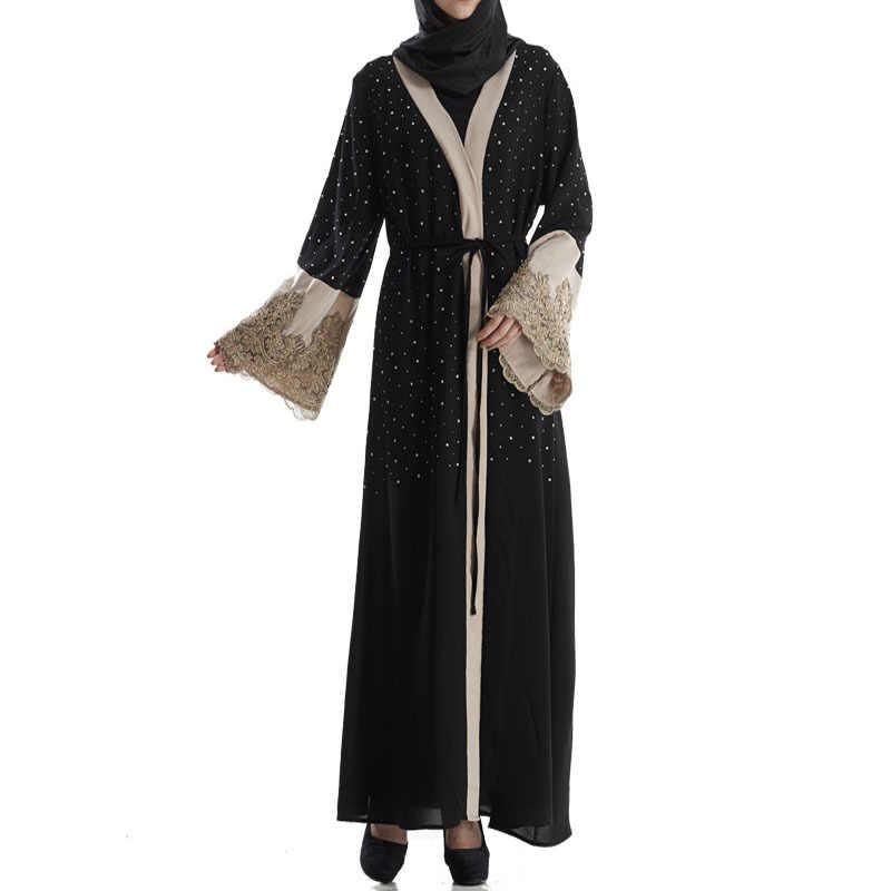 Dubai vestido muçulmano miçangas kaftan aberto abaya longo robe rendas hijab outwear túnica árabe jubah roupa islâmica festa vestidos
