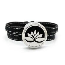 BOFEE Lotus Aromatherapy Essential Oil Diffuser Locket Bracelet Screw 316 Stainless Steel Fashion Leather Wrap 30MM