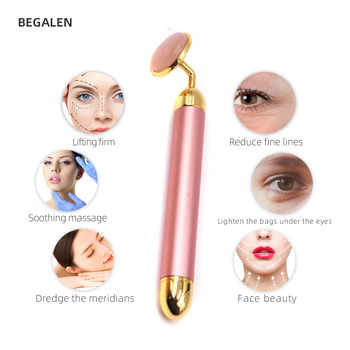 24k Gold Energy Beauty Bar  Rose Quartz Facial Jade Roller Electric Vibrating Massager For Double Chin Reduce Face   Lifting