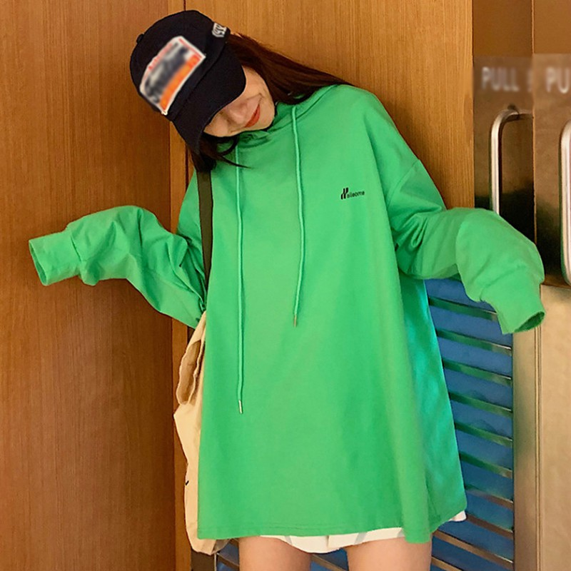 Fashion Autumn Hoodie Women Casual Green Sweatshirt O-neck Solid Long Sleeve Oversize Sweatershirt Harajuku Loose Pullover