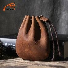 NUPUGOO-monedero Vintage informal de cuero genuino para hombre y mujer, monedero pequeño de cuero duro, bolsillo para dinero, bolsa de almacenamiento con cordón