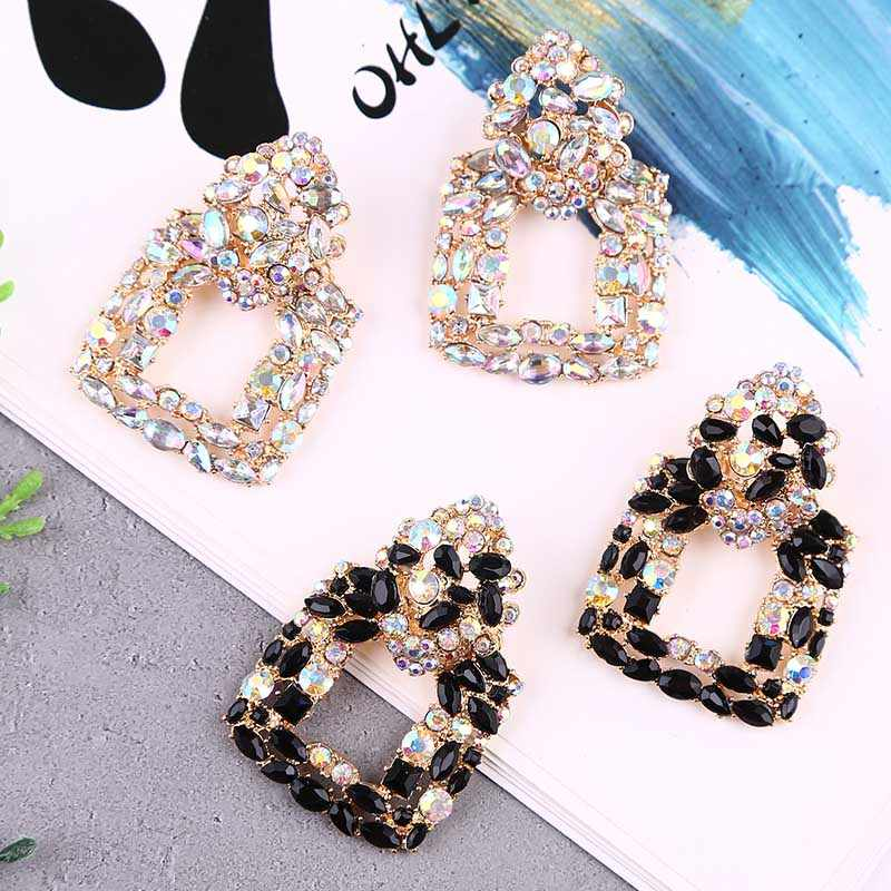 Trendi Hyperbole Transparan Square Crystal Drop Earrings untuk Wanita Vintage Geometris Hitam Berlian Imitasi Anting-Anting Perhiasan Hadiah