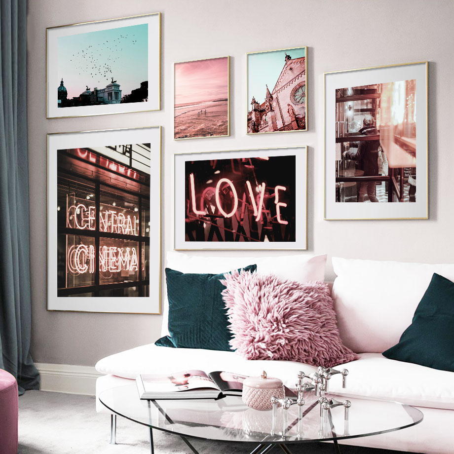 Pink Sea Church Neon Light City Street Nordic Posters And Prints Wall Art Canvas Painting Club Pictures For Living Room Bar