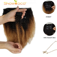 ShowCoco HairClip In Human Hair Extensions Afro Kinky Curly Clip Ins Machine-Made Remy Triple Wefts Human Hair For Black Women
