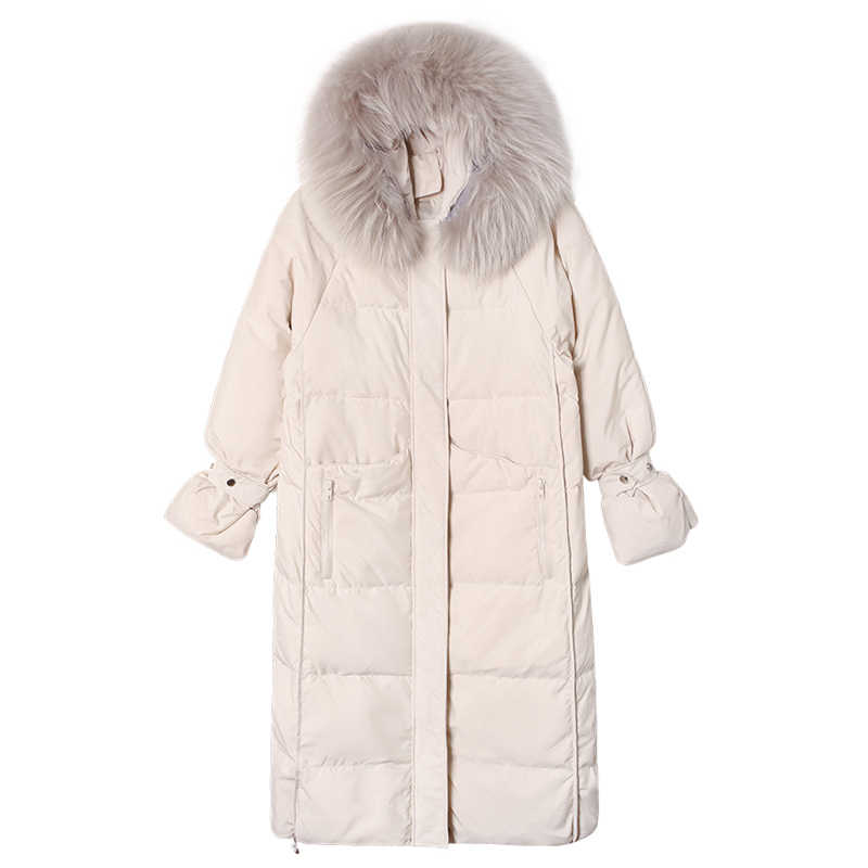 Bella philosophy 2019 Winter New Korean Version of The Loose Long Section Large Fur Collar Cotton Casual Set Winter Thick coats