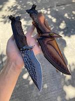 Cuchillo de acero damasco VG10 para caza, herramienta de autodefensa para acampada al aire libre